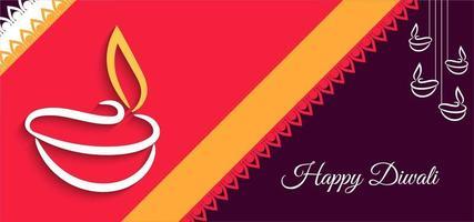 Bright audacieux joyeux Diwali salutation avec bannière à rayures vecteur