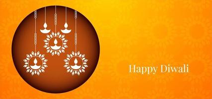 Joyeux Joyeux Diwali simple avec un motif de diya graphique rond vecteur