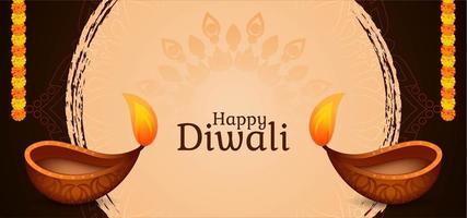 Joyeux Diwali simple salutation graphique avec diya vecteur