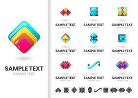 Ensemble de logos géométriques en couches colorées modernes vecteur