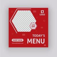 Modèle de message sur les médias sociaux du menu d'aujourd'hui