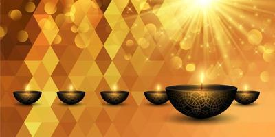 Lampes Diwali dorées sur le design de la bannière low poly
