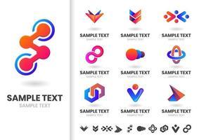 Ensemble de logos de formes imbriquées rouges et bleus