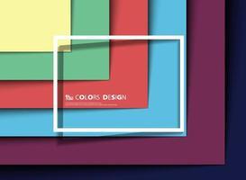 Motif coupé de papier carré multicouche abstrait coloré vecteur