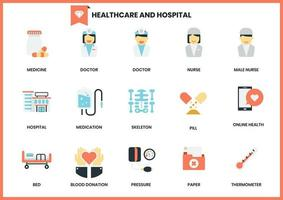 Ensemble d'icônes d'hôpital et de soins de santé sur blanc vecteur