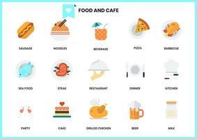Ensemble d'icônes de nourriture et de café vecteur