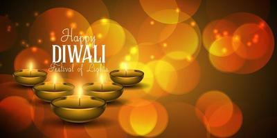 Bannière de Diwali Lumières brouillées
