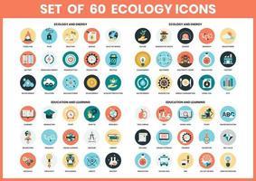 Ensemble d'icônes d'écologie vecteur