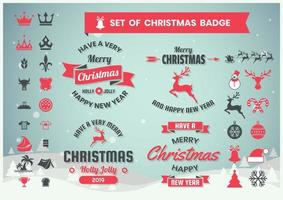 Set de badges de Noël rétro vecteur