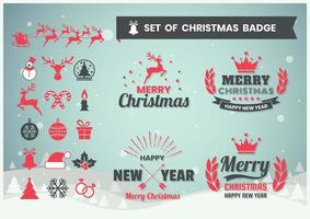 Set de badges de Noël et du nouvel an vecteur