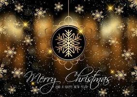 Carte de joyeux Noël de flocons de neige d'or