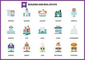 Icônes de construction pour les entreprises sur blanc