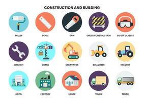 Ensemble d'icône de construction circulaire pour les entreprises vecteur