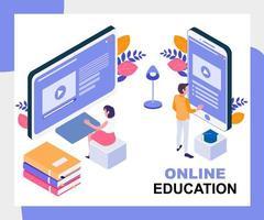 Concept isométrique de l'éducation en ligne vecteur