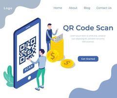 Page Web isométrique Scan de code QR vecteur