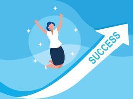 femme d'affaires réussie célébrant avec la flèche vers le haut