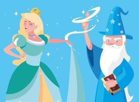 sorcier avec personnage d'avatar de princesse de conte de fées vecteur