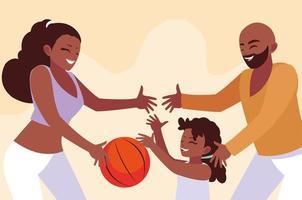 Mère, père, fille, jouer, dessin vecteur