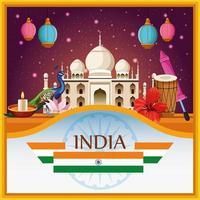 Éléments et monuments nationaux de l'Inde vecteur
