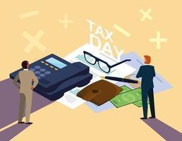 hommes d'affaires au jour de l'impôt avec téléphone et icônes