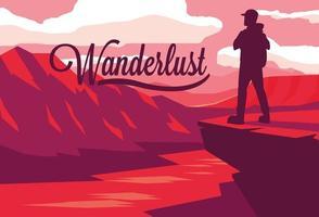 paysage de scène avec fleuve et voyageur wanderlust vecteur