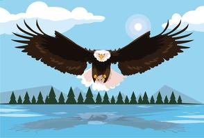 oiseau pygargue à tête blanche voler avec paysage vecteur