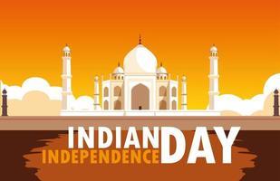 affiche de la fête de l'indépendance indienne avec mosquée du taj majal vecteur