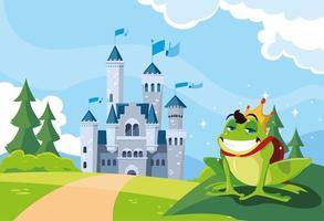 prince grenouille avec château conte de fées dans un paysage montagneux vecteur