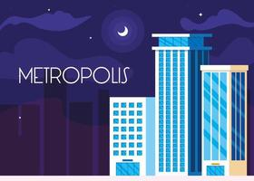 metropolis cityscape buildings night scene