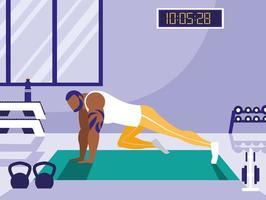jeune homme athlétique faisant des pompes à la poitrine dans la salle de gym vecteur