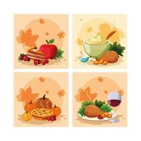 dîner de dinde du jour de thanksgiving avec icônes définies