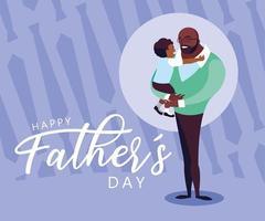 carte de fête des pères heureux avec papa et fils