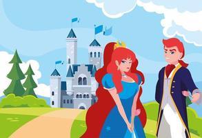 princesse et prince avec château conte de fées dans le paysage
