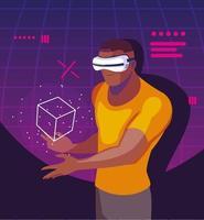 homme utilisant la technologie de la réalité augmentée