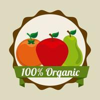 Badge de fruits bio vecteur