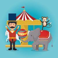 spectacle de cirque des singes et des éléphants
