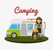 Remorque de camping et randonneur