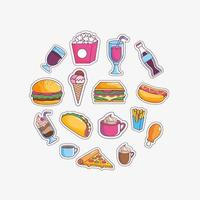 Jeu d'icônes de fast food savoureux vecteur