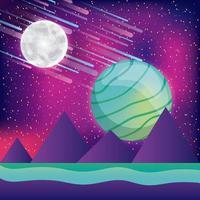 Paysage spatial futuriste 3d coloré