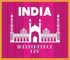 temple indien jama masjid avec fond rose vecteur
