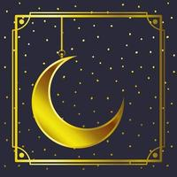 cadre doré avec pendentif croissant de lune