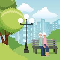 Senior couple dans un parc sur un banc vecteur