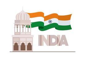 temple de la mosquée indienne avec drapeau vecteur