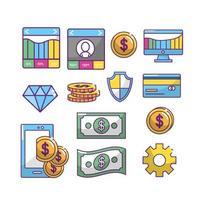 Jeu d'icônes de l'industrie Fintech vecteur