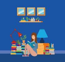 Salle d'étude à domicile avec conception de livres vecteur