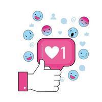 main avec message de chat social et emojis vecteur