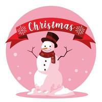 bonhomme de neige de noël avec ruban vecteur