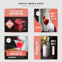 Conception de publications dans les médias sociaux sur les aliments et les boissons vecteur