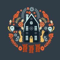Modèle d'art populaire scandinave avec maison et fleurs