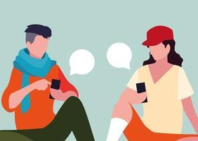jeunes hommes assis à l'aide de smartphones avec bulles